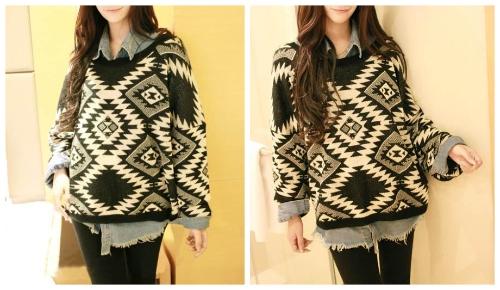Retro Fashion Women Sweater Geometric Pattern Argyle Knitwear Pullover Jumper Loose Top Black