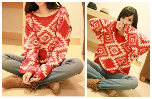 Retro Fashion Women Sweater Geometric Pattern Argyle Knitwear Pullover Jumper Loose Top Red G0264R