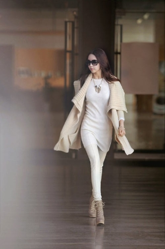 Fashion Women Cardigan Shawl Collar Solid Long Shrug Sweater OL Loose Coat Knitwear Beige