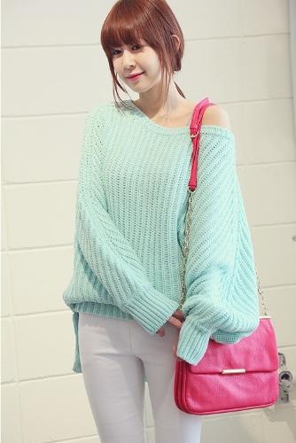 Korean Fashion Women Sweater Knitwear Warm Long Batwing Sleeve High-low Hem Loose Top Pullover Mint Green G0274GR