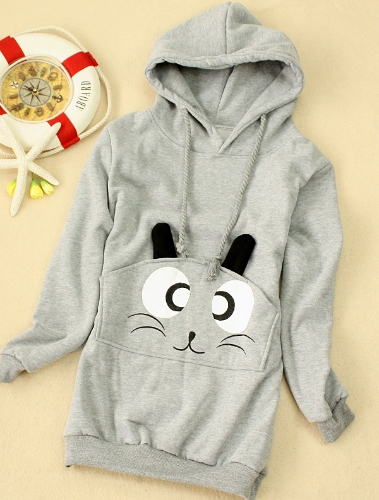 New Casual Women Thick Hoodies Long Sleeve Sweatshirt Cat Pocket Long Coat Grey