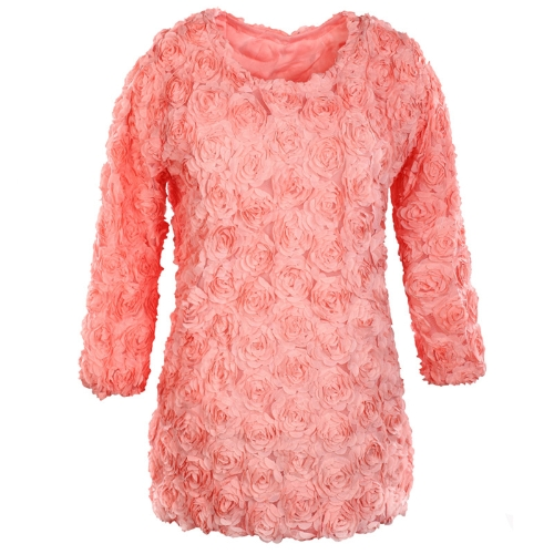 Buy Fashion Women Dress 3D Rose Flower Mesh Lace Long Sleeve Mini Pullover Tops Pink