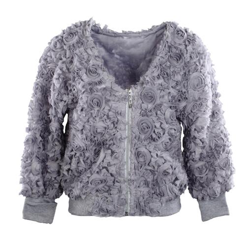 Fashion Women Thin Coat 3D Rose Flower Mesh Lace V Neck Zipper Slim Tops Grey