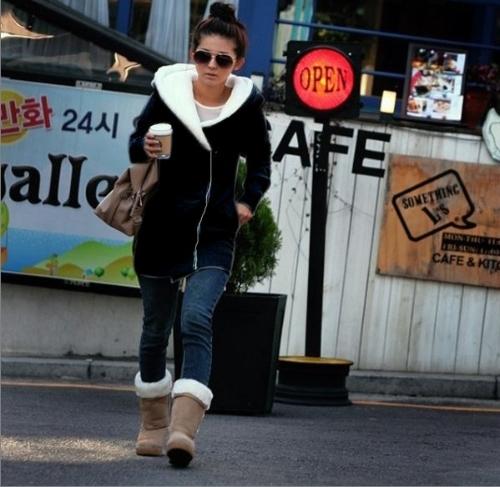 Buy Korean Women Girl Long Hoodie Fleece Jacket Zipper Warm Coat Outerwear Black