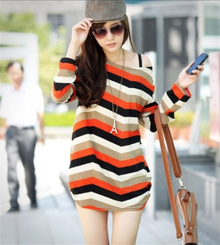 Korean Fashion Women Slouchy T-Shirt Colorful Stripes Scoop Neck Knitted Long Shirt Pullover Tops Orange Stripe