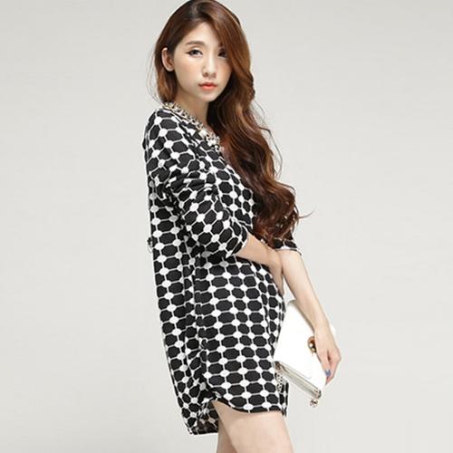 New Fashion Women T-Shirt Print Crew Neck Long Sleeve Casual Loose Top Black Dot