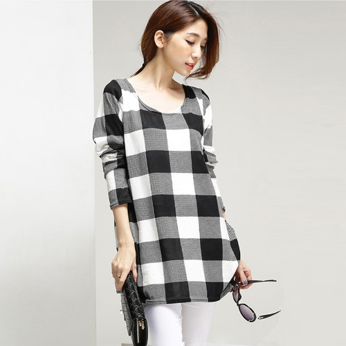 New Fashion Women T-Shirt Print Crew Neck Long Sleeve Casual Loose Top Black Large Plaid