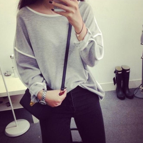 New Fashion Women T-Shirt Batwing Long Sleeve Contrast Line Crew Neck Loose Top Black/White/Grey