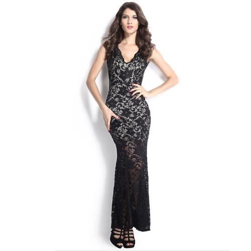 New Sexy Women Maxi Dress Floral Lace Deep V-Neck Sleeveless Bodycon Dress Evening Party Dress
