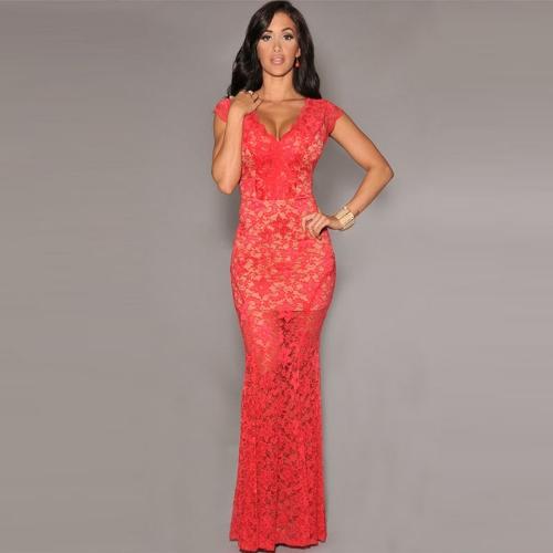 New Sexy Women Maxi Dress Floral Lace Deep V-Neck Sleeveless Bodycon Dress Evening Party Dress G0989R