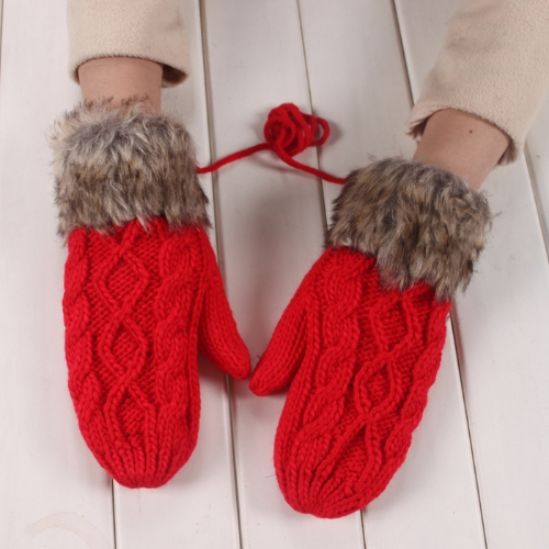 Fashion Winter Women Gloves Mitten Thick Warm Knitted Faux Fur Christmas Cute Red