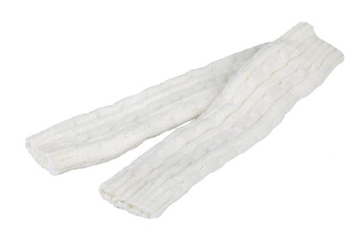 Fashion Winter Men Women Gloves Mitten Warm Knitted Fingerless Arm Long Unisex White GA0019W