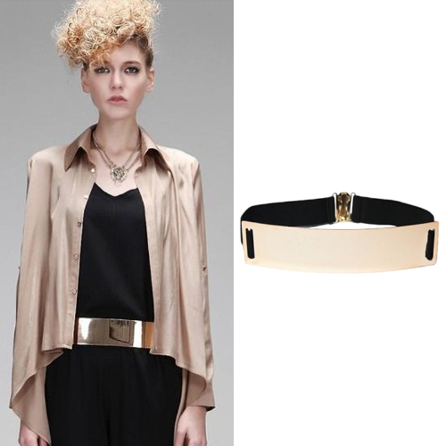 New Fashion Women Gold Metal Belt Elastic Strap Clasp Closure Mirror Face Belt Waistband Black