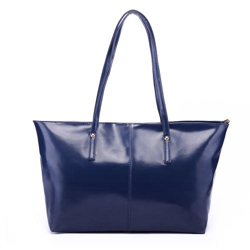 New Fashion Women PU Leather Handbag Candy Color Tote Shoulder Bag Dark BlueNew Fashion Women PU Leather Handbag Candy Color Tote Shoulder Bag Dark Blue<br><br>Blade Length: 45.0cm
