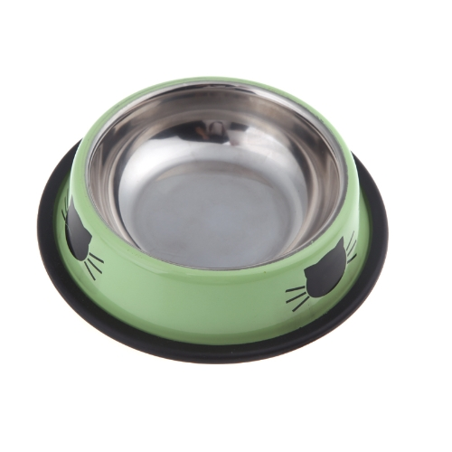Image of Small Stainless Steel Dog Cat Pet Feeding Water Bowl with Rubber Rim