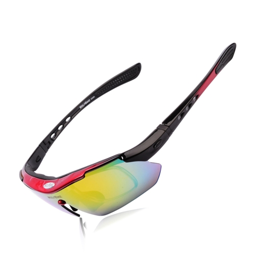UV400 Polarized Sunglasses Safety Eyewear Goggle for Bicycle Riding Open-air Activities Detachable Universal 5 Lens Red H10674R