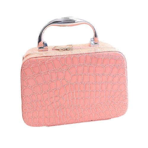 Fashion Women Shoulder Bag PU Crocodile Pattern Cosmetic Bag Handbag Hard Case Pink