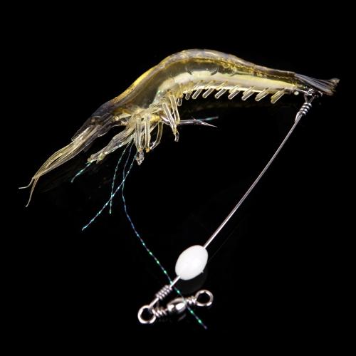 18cm 8g Artificial Fishing Lure Bionic Shrimp Soft Bait Fishing Tackle with Hook Noctilucent Luminous Night Glow Bead Black H10881B