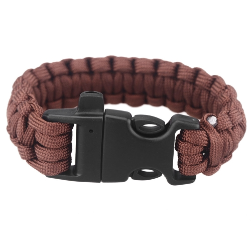 Paracord Parachute Cord Emergency Survival Bracelet Rope with Whistle Buckle Outdoor Camping BrownEmergency &amp;Survival Tools<br>Paracord Parachute Cord Emergency Survival Bracelet Rope with Whistle Buckle Outdoor Camping Brown<br><br>Blade Length: 25.0cm