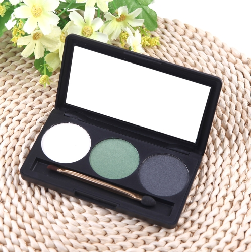 Professional 3 Color Matte Nude Makeup Eyeshadow Palette Eye Shadow with Mirror and Double Ended Brush 3#