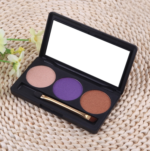 Professional 3 Color Matte Nude Makeup Eyeshadow Palette Eye Shadow with Mirror and Double Ended Brush 5# H11483-5