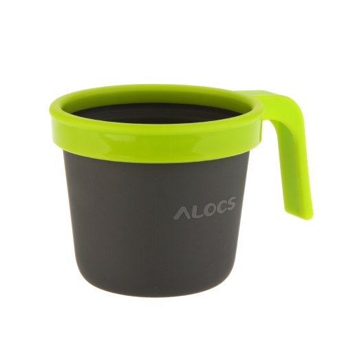 ALOCS TW-403 Outdoor Aluminum Ultralight Portable Camping Water Cup Mug with PP Handle 280ml H12150GR