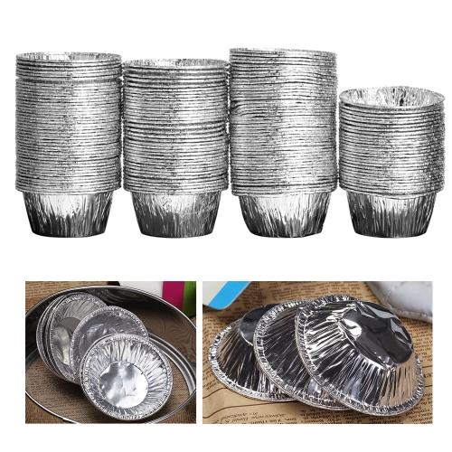 150pcs Disposable Aluminum Foil Baking Cookie Muffin Cupcake Egg Tart Mold Round H13989