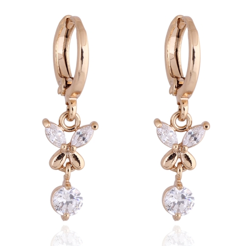 Buy 1Pair Clear Crystal Zircon 18K Gold Plated Flower Butterfly Dangle Earrings Drop Pendant Jewelry Gift Women Lady