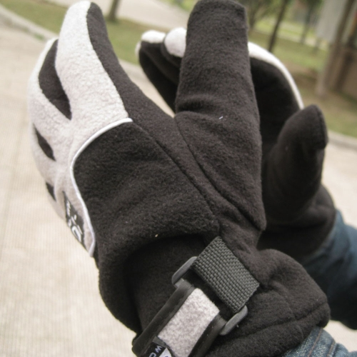 Adjustable Gloves Men Full Finger Fleece Outdoor Windproof Thermal Winter Ski Cycling Skiing Hiking H14033B-GY