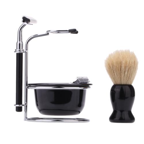Buy 4 1 Men's Manual Razor Set Beard Shaving Brush Bowl Stainess Steel Stand Holder 5 Blades Wet