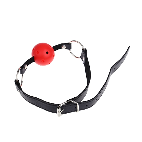 PU Leather Adjustable Strap Breathable Ball Gag For Sex Game Adult Sex Product Flirting Toy for Couples