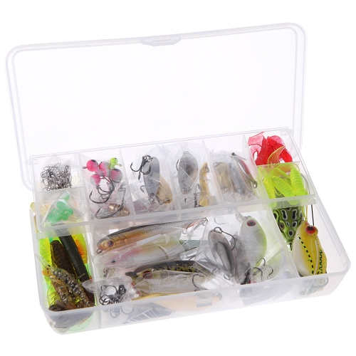 108Pcs Portable Artificial Fishing Lures Set Soft Hard Baits Minnow Spoon Popper Crank Shrimp Jig Hook Tackle Box