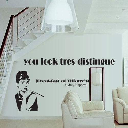 Buy Removable Wall Sticker Silhouette Audrey Hepburn Art Decals Mural DIY Wallpaper Room Decal 60 * 90cm