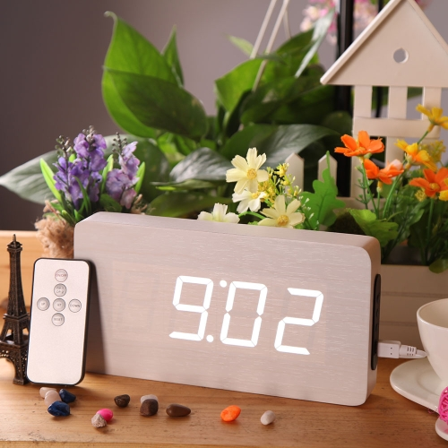 Buy Creative Remote Control Wooden LED Digital Alarm Clock Temperature Display Thermometer Voice Sound Activated DC6V Perpetual Calendar Function