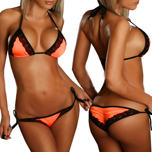 Sexy Women String Bikini Set Swimwear Lace Trimmed Beachwear Swimsuit Bathing Suit Trikini Orange