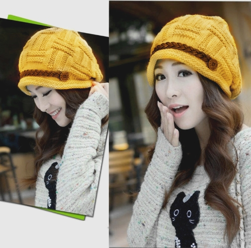 New Winter Women Beanie Chunky Knit Baggy Hat Warm Ski Hat Cap Headwear Yellow