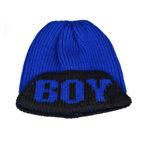 Fashion Women Knitted Cap Letters Solid Color Casual Hats Beanies Royal Blue