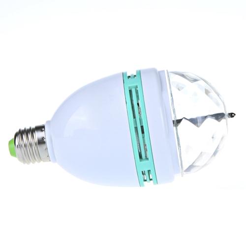 3W E27 Full Color LED Crystal Auto Rotating Stage DJ Lamp Light Bulb H9182