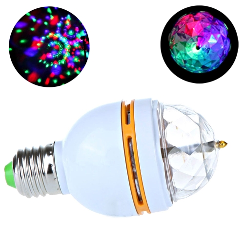 3W E27 Full Color LED Crystal Voice-activated Rotating Stage DJ Lamp Light Bulb H9183