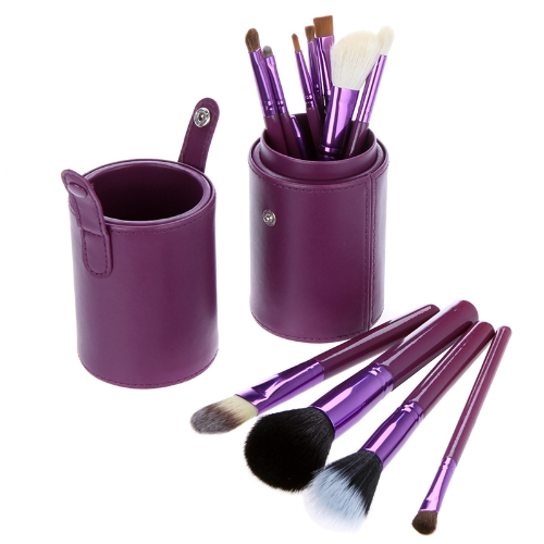New 12pcs Professional Makeup Brush Set Cosmetic Brush Kit Makeup Tool with Cup Leather Holder Case Purple