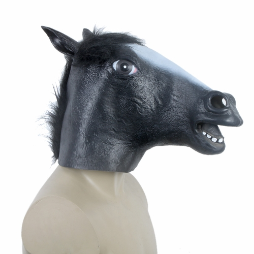 Buy Creepy Funny Latex Horse Head Mask Halloween Costume Party Christmas Theater Prop Black