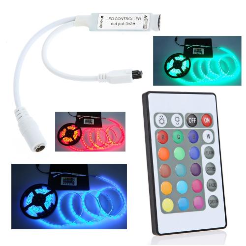 5-24V 24 chave IR sem fio remoto RGB LED Mini controlador Dimmer para LED Strip 3528 5050 от tomtop.com INT
