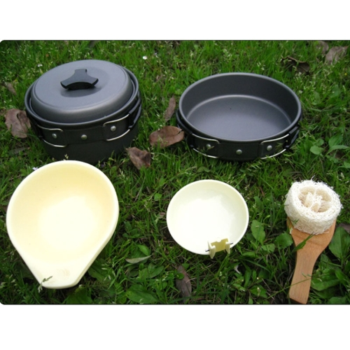 Portable Outdoor Cooking Set Anodised Aluminum Non-stick Cookware  Camping Picnic Hiking Utensils Pot Pan Bowl