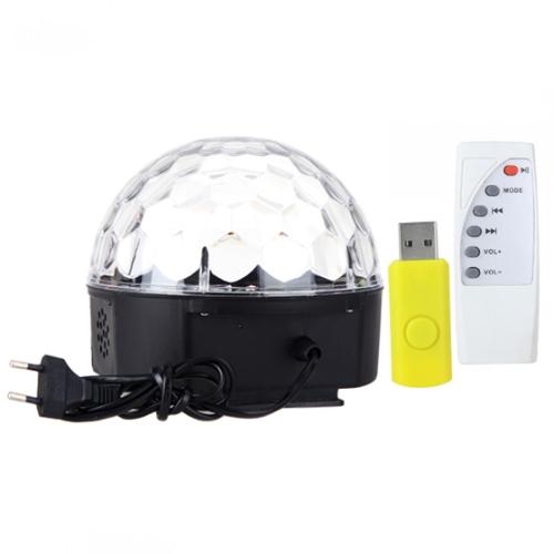 RGB MP3 Magic Crystal Ball LED música palco Lâmpada luz casa iluminação festa com USB disco controle remoto 90-250V от Tomtop.com INT
