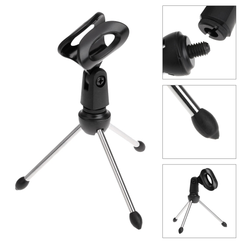Desktop Mic Microphone Tripod Stand Holder Bracket With Rubber Cap Foldable Portable Durable kopen