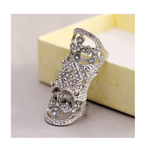 Fashion Punk Western Style Rhinestone Armor Joint Finger Cross Ring Jewelry J0020S