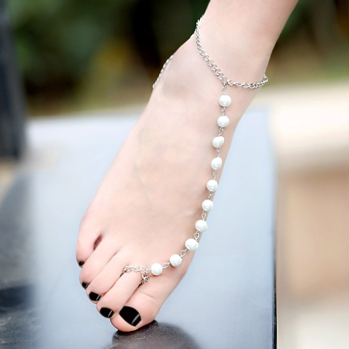 Women's Pearl Silver Anklet Chain Rings Wedding Beach Bridal Barefoot Sandal Foot Chain Jewelry