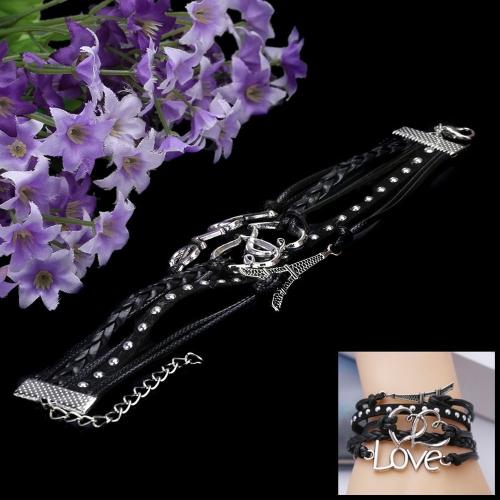Fashion Vintage Jewelry Accessory Multilayer Braided Pendants Bracelet Bangle