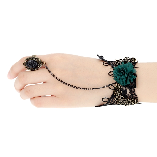 Retro Vintage Gothic Party Wedding Accessories Jewelry Green Flower Black Lace Bracelet Bangle with Crystal Rhinestones Ring Finger Set for Women GirlsBracelets &amp; Bangles<br>Retro Vintage Gothic Party Wedding Accessories Jewelry Green Flower Black Lace Bracelet Bangle with Crystal Rhinestones Ring Finger Set for Women Girls<br><br>Blade Length: 11.0cm