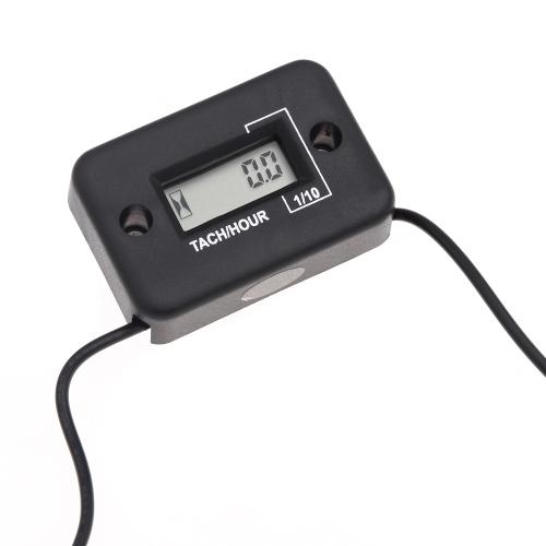 Waterproof Digital Tachometer Tach Hour Meter Gauge LCD for 4 Stroke Gas Engine Motorcycle ATV Snowmobile Boat Black K1304B